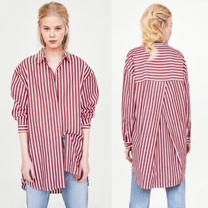 ZARA Oversized Menswear Inspired Button Down Top